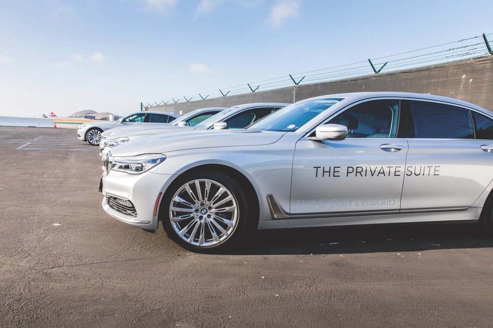 When it's time for a flight, the Private Suite's fleet of BMW 7 Series sedans is ready to deliver guests to the runway in style at the Los Angeles Airport (LAX).