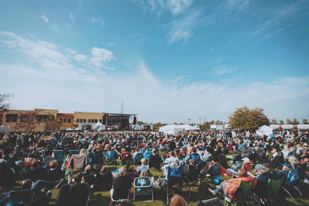 The crowd at the main stage at Grand Boulevard Town Center for 30A Songwriters Festival 2019