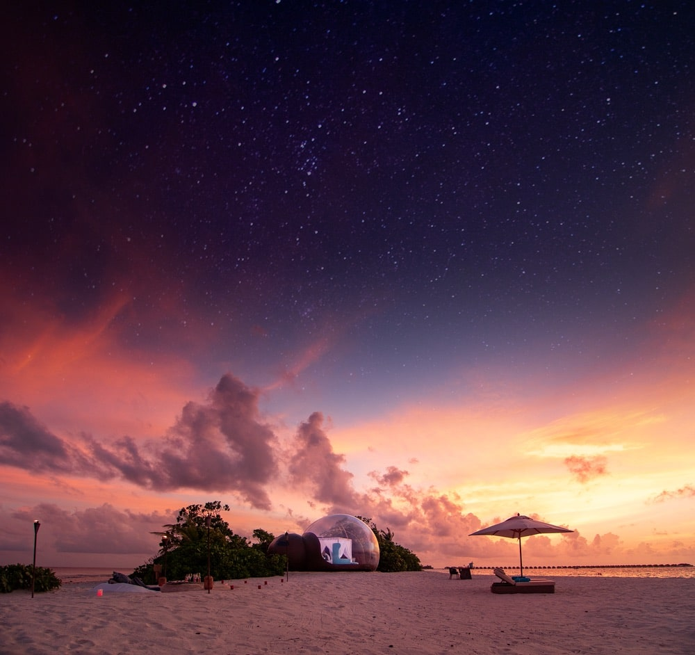 Baa Atoll in the Maldives is the perfect locale for Finolhu's Beach Bubble, with seclusion at its forefront and stargazing not far behind! | Photo courtesy of Finolhu
