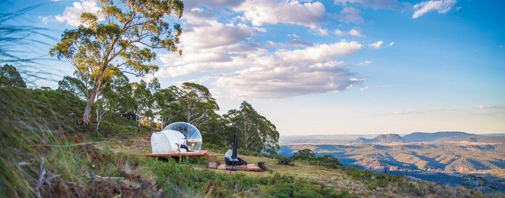 Bubbletent's Virgo bubble comes with a kitchenette, a telescope, a fire pit, hammocks, and more. | Photo by Cam Darcy
