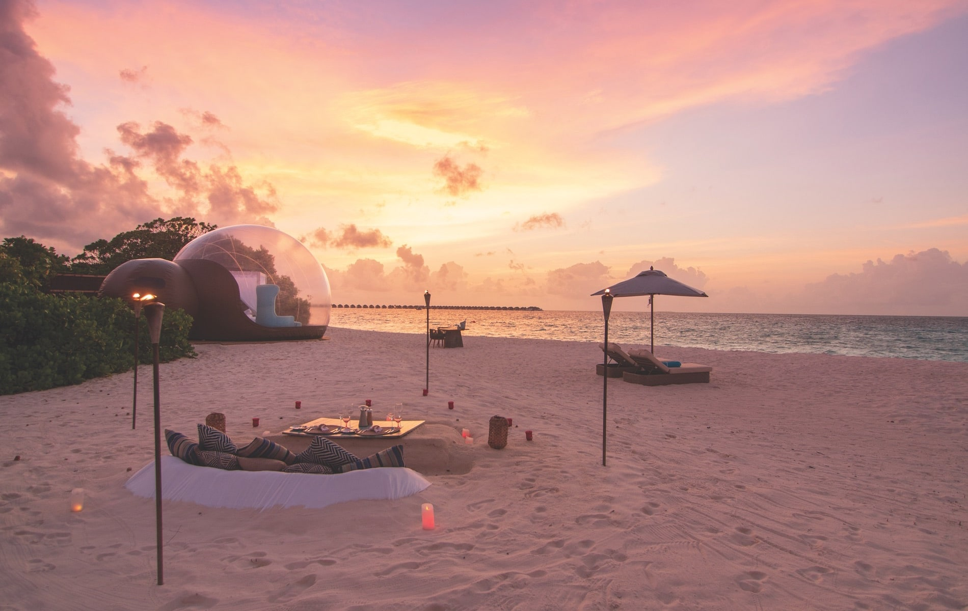 The Beach Bubble tent at Finolhu resort is the first of its kind in the Maldives, though the bubble hotel trend is sweeping the globe.