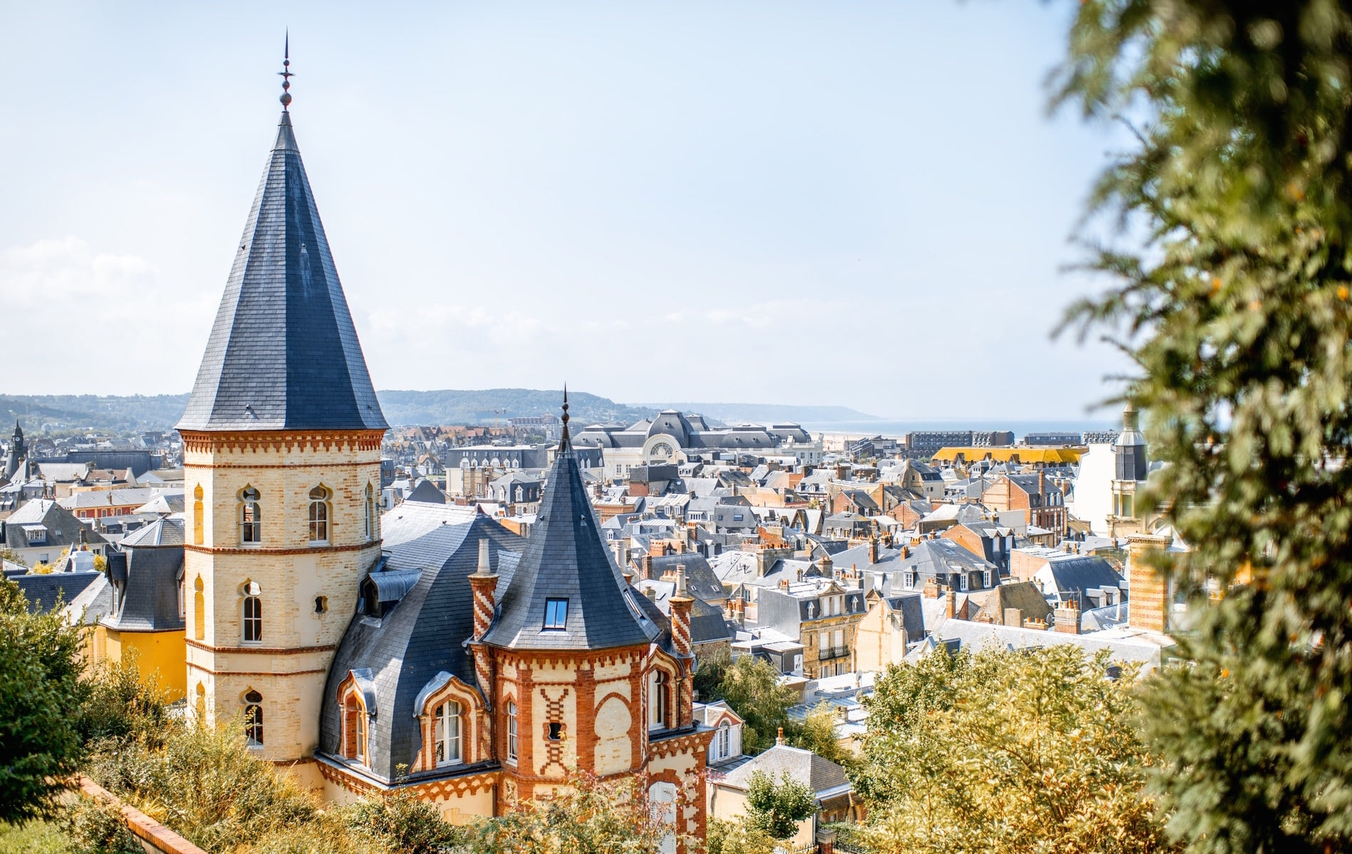 View of Trouville, France, with its picturesque rooftops and the English Channel in the distance