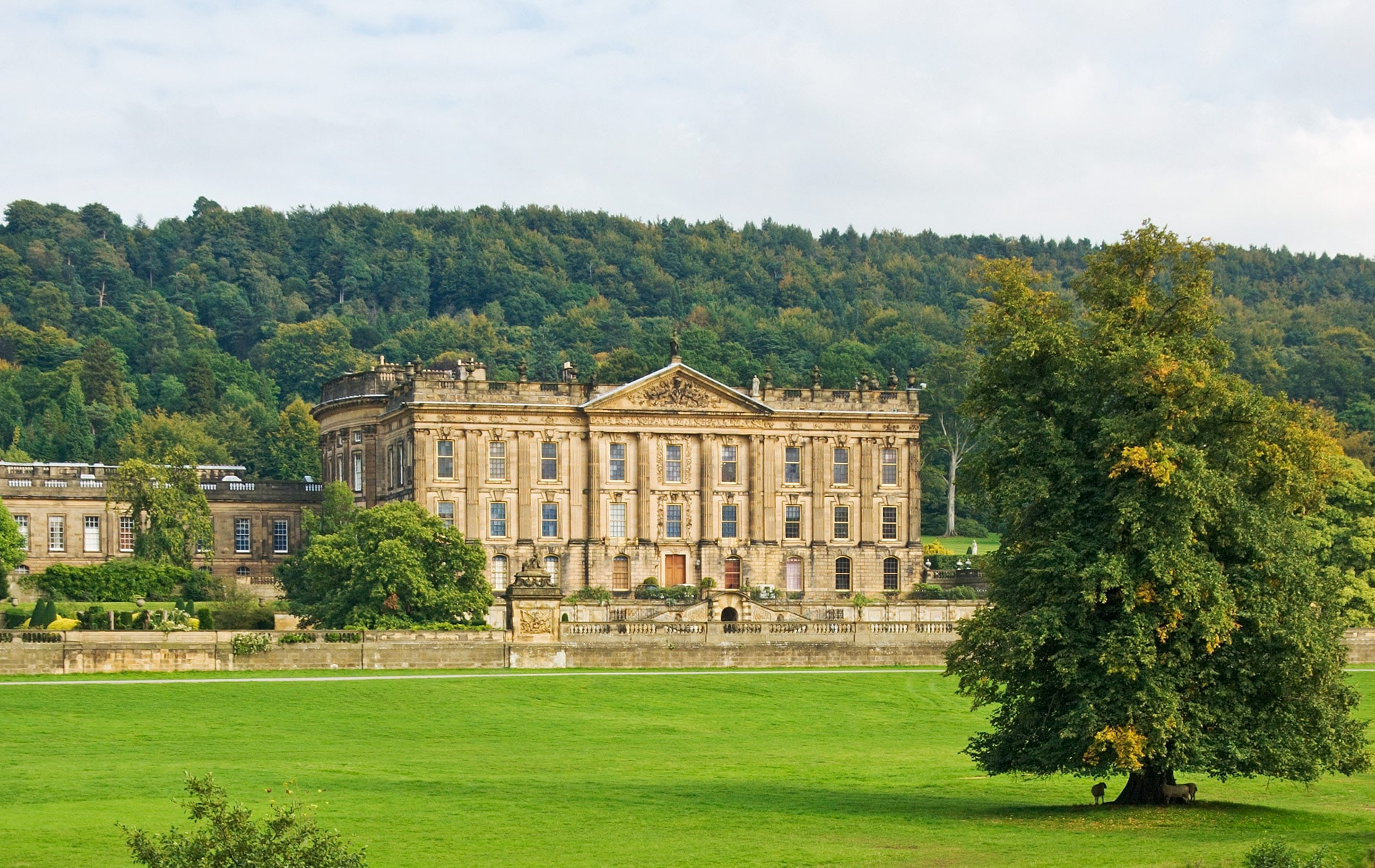 Chatsworth House, built 1707, is the seat of the Dukes of Devonshire and famous among the stately homes of England. It is open to the public daily for tours and its gardens include a variety of sculptures. | Photo by Jane McIlroy / Shutterstock