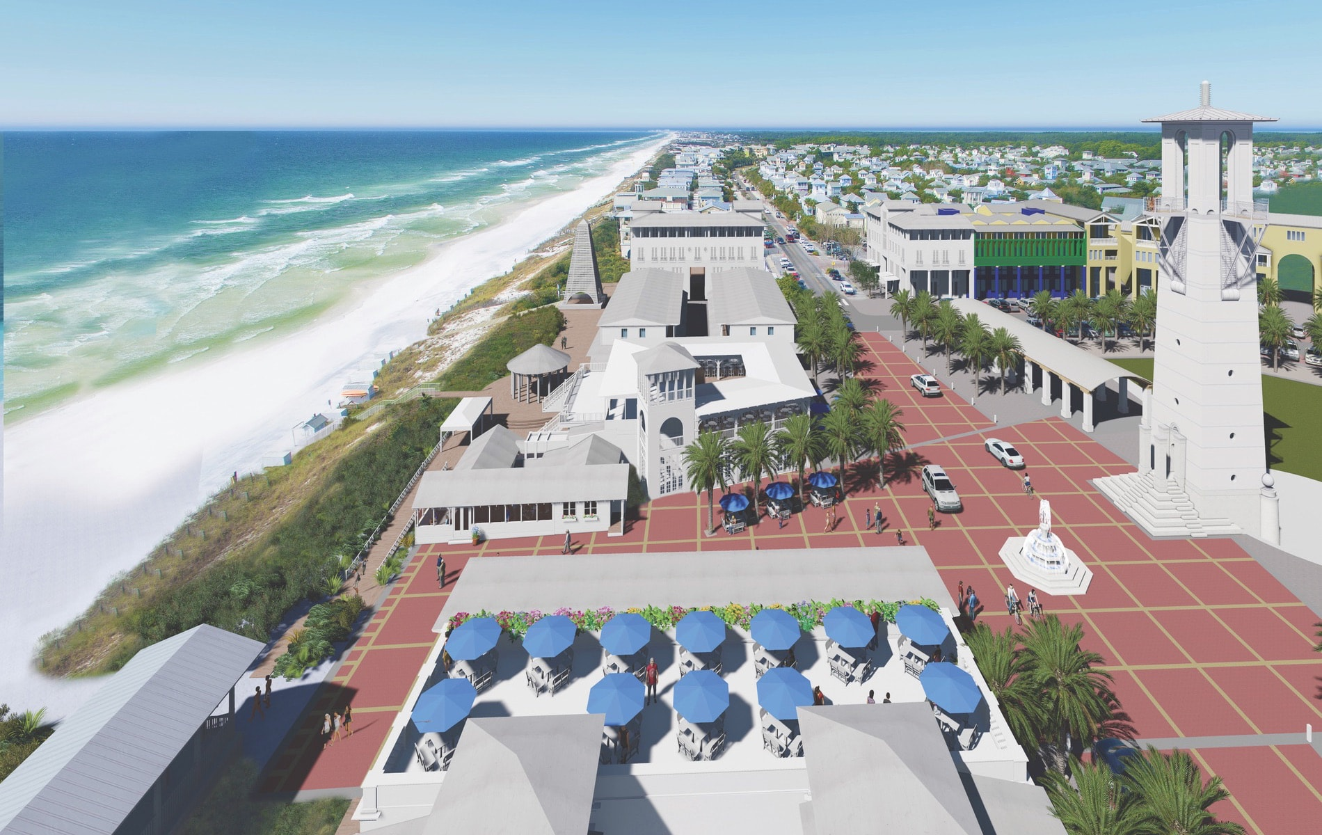 Rendering by Dhiru A. Thadani of Seaside's proposed new plaza, including planned additions to Bud & Alley's restaurants, the Krier Tower, and more