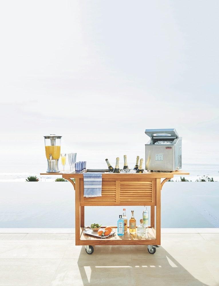 Frontgate Teak Bar Cart with Beverage Tub