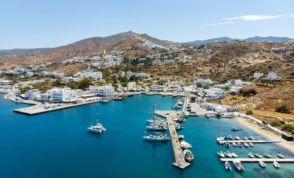Panoramic view of Port of Ios Island, Cyclades, Greece