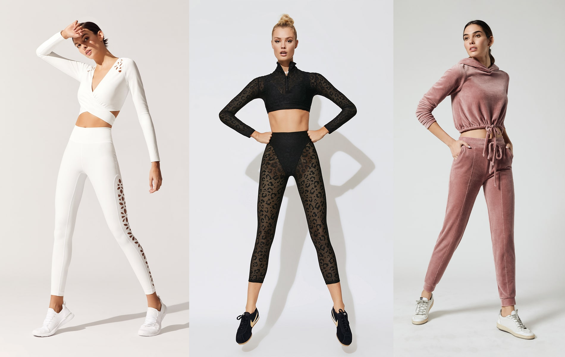 Carbon38 Gigi C Laser-Cut Tina Top and Hannah Leggings, Carbon38 Adam Selman Sport Long-Sleeve Crop Top and French-Cut Leggings, Carbon38 Year of Ours Velour Try-Out Crop Hoodie and Jogger Pant