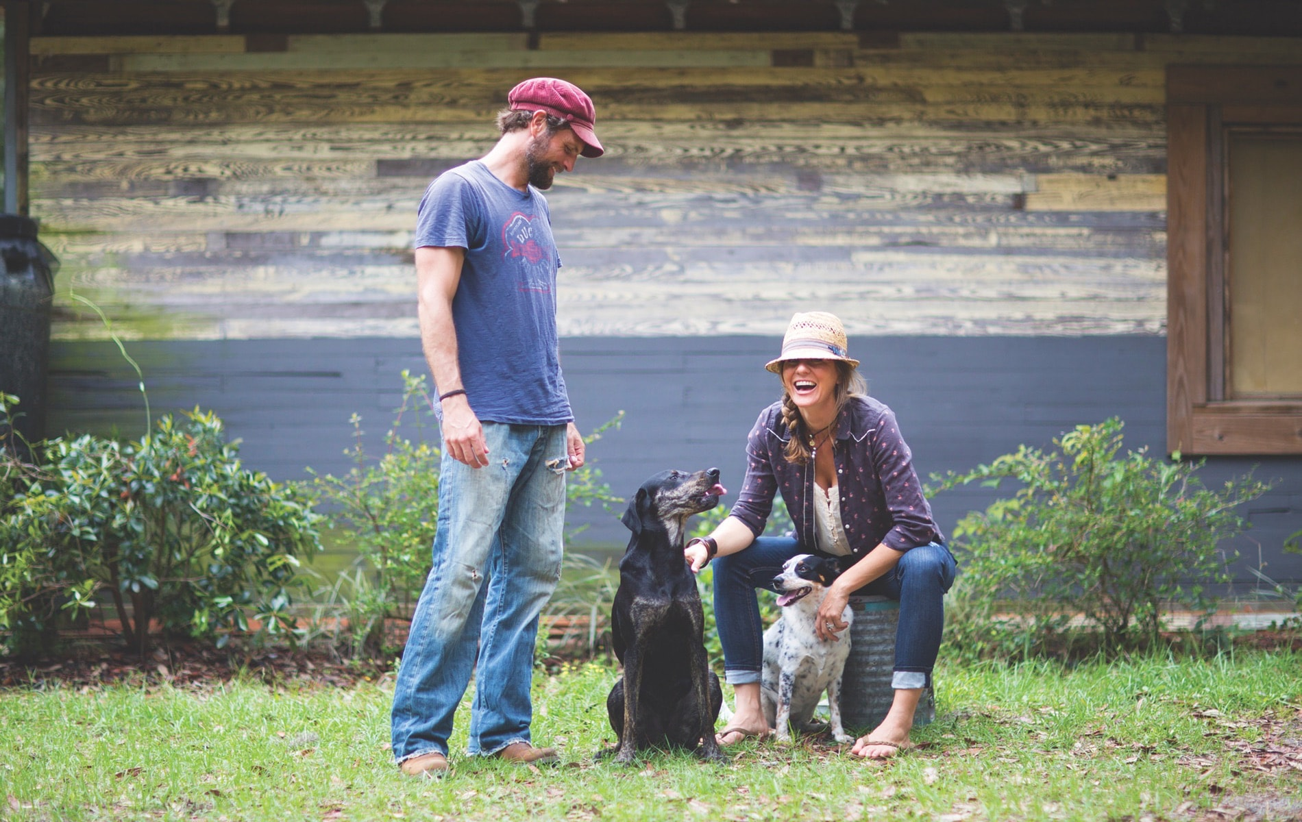 Lastrå founder Arix Zalace and Jenifer Kuntz with their dogs, Japhy and Kali | Photo by Sean Murphy