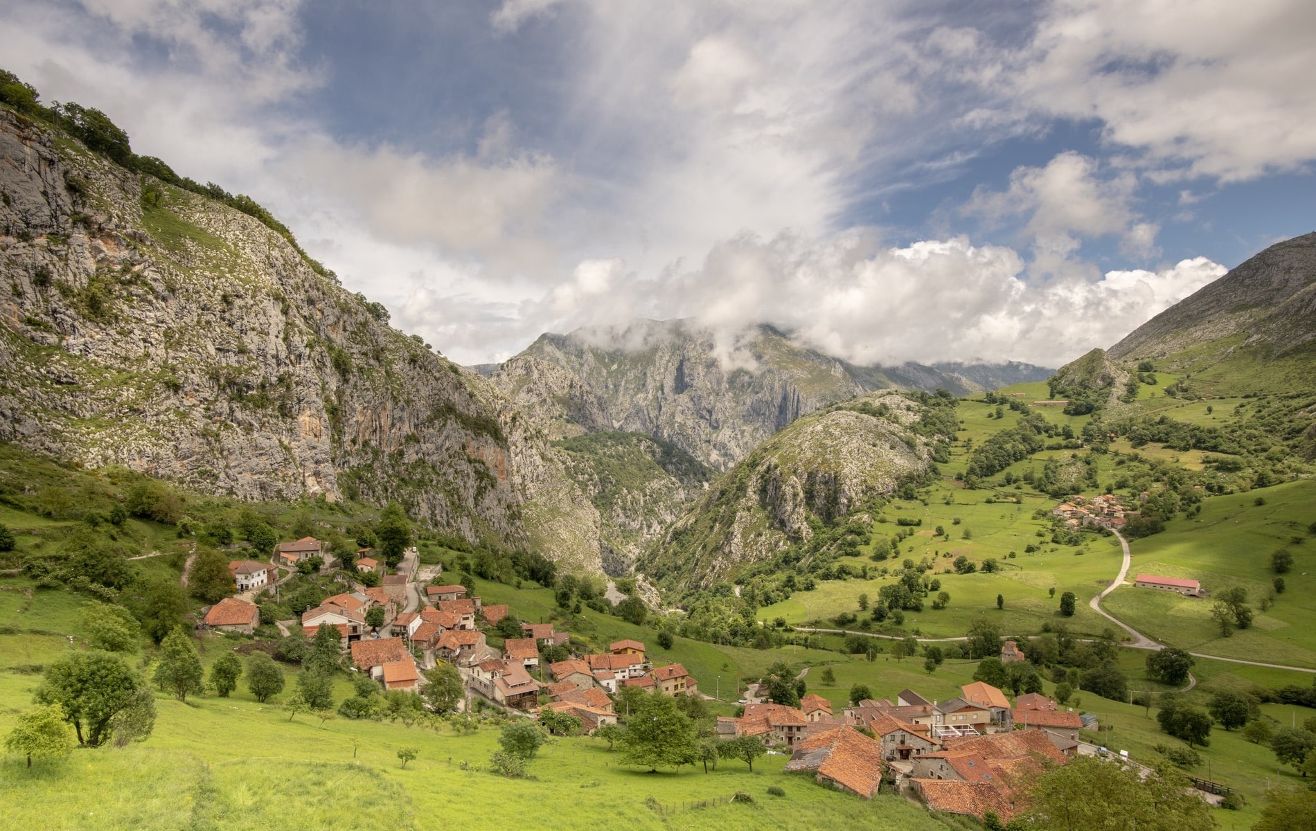The valleys of the Picos de Europa (Peaks of Europe) in northern Spain are lush and green, full of quaint villages, and perfect for hiking.