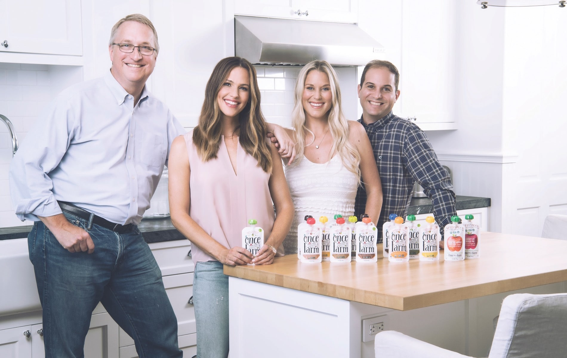 Once Upon a Farm cofounders John Foraker, Jennifer Garner, Cassandra Curtis, and Ari Raz