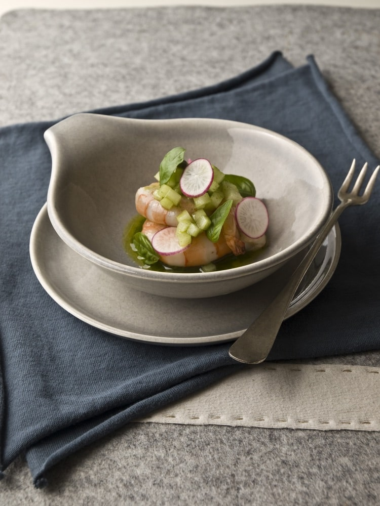 Olive Oil-Poached Shrimp with Cucumber and Radish Salad recipe