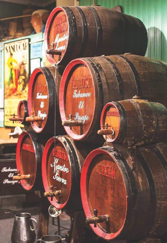 Sherry is aged in barrels in Spain's westernmost province of Jerez de la Frontera, the region from which the drink takes its name.