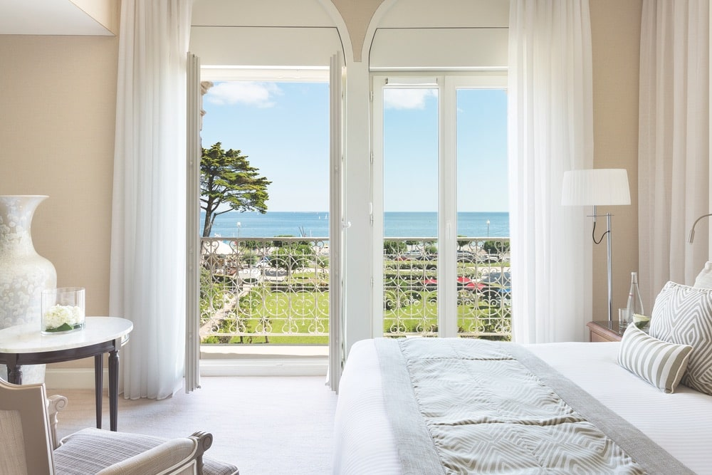 A peaceful, beautiful view of the ocean from a deluxe suite at Hôtel Le Royal La Baule | Photo by Fabrice Rambert