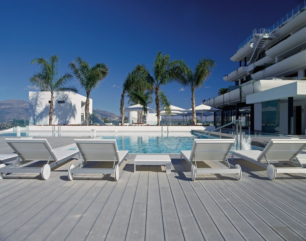 The relaxing pool deck at SHA Wellness Clinic in Spain. Photo courtesy of SHA