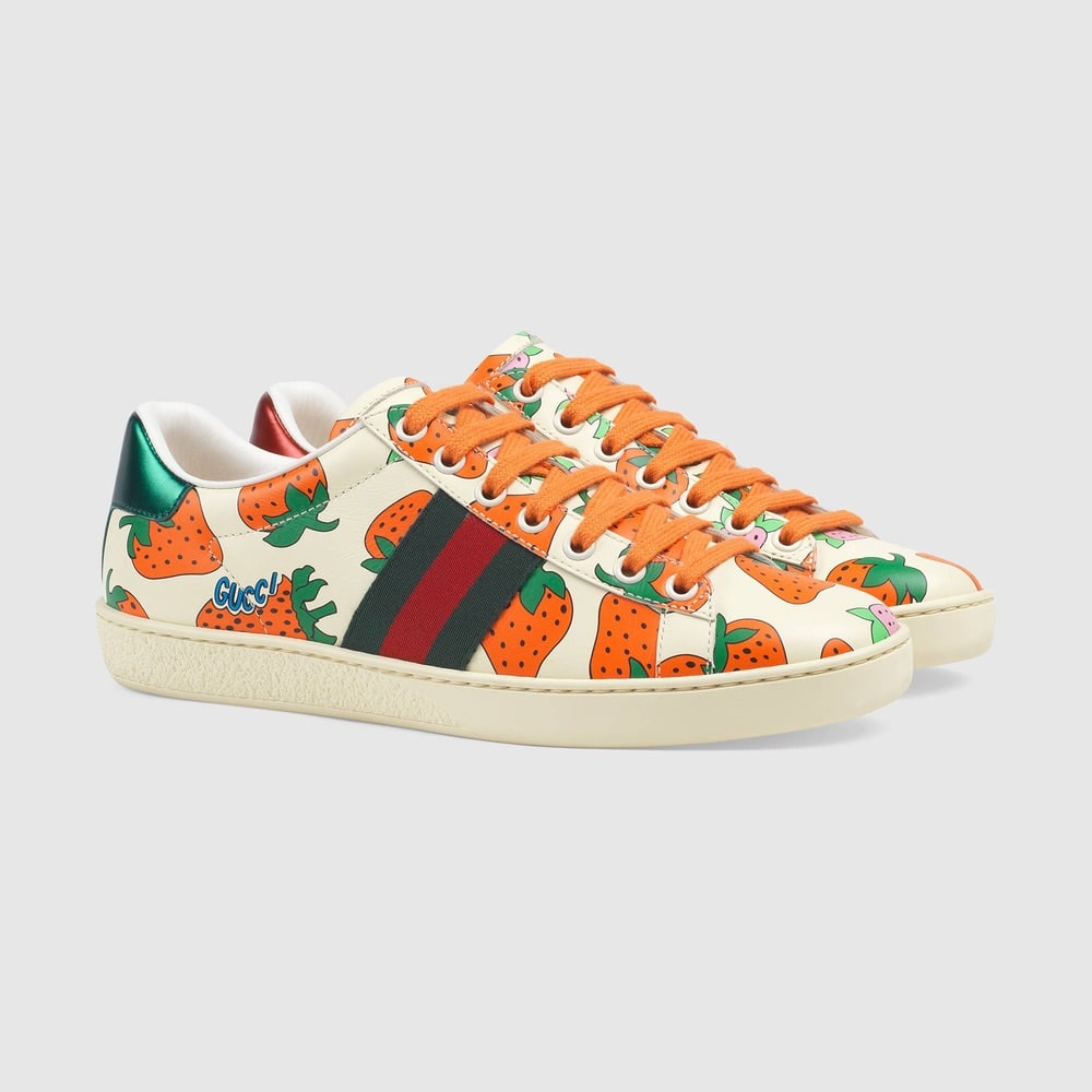 Gucci Ace Leather Sneaker with Gucci Strawberry Print