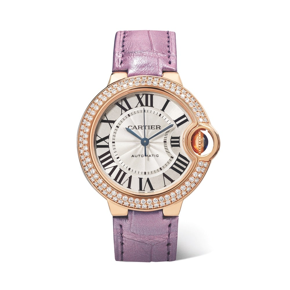Cartier Ballon Bleu de Cartier Automatic 36mm 18-Karat Pink Gold, Alligator, and Diamond Watch