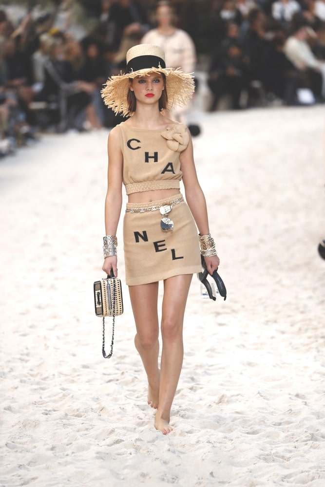 A model walks the runway during the Chanel show as part of the Paris Fashion Week Womenswear Spring/Summer 2019 on October 2, 2018 in Paris, France