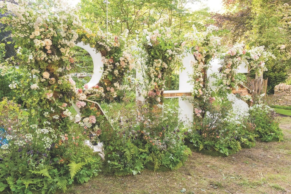 Chelsea Flower Show, Royal Horticultural Society, RHS floral letter display, designed by Lucy Hunter for the Chelsea Flower Show Artisan Garden area 2018