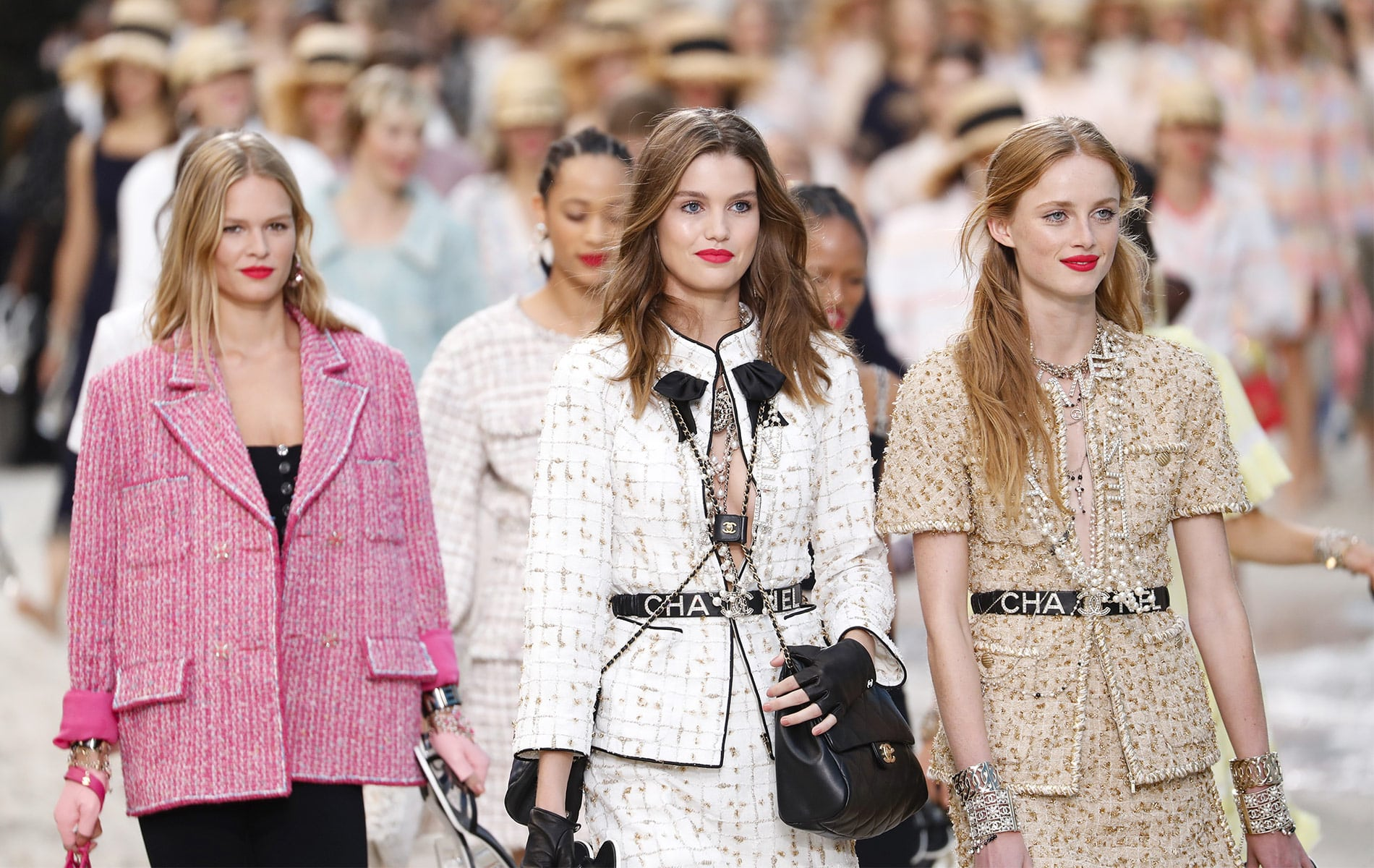 Models walk the runway finale during the Chanel show as part of the Paris Fashion Week Womenswear Spring/Summer 2019 on October 2, 2018 in Paris, France