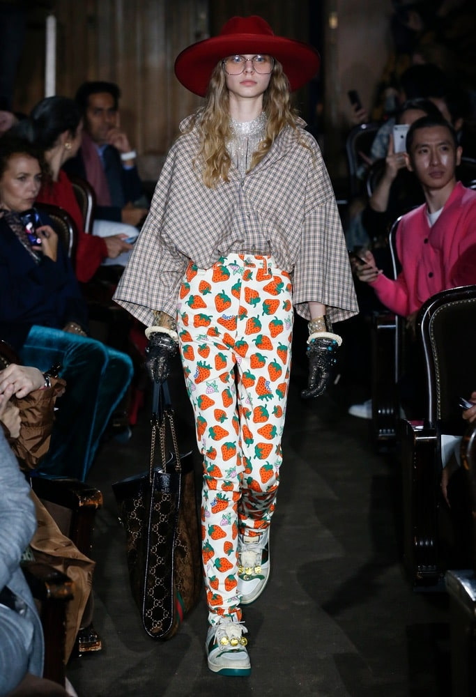 A model walks the runway during the Gucci show as part of the Paris Fashion Week Womenswear Spring/Summer 2019 in Paris, France