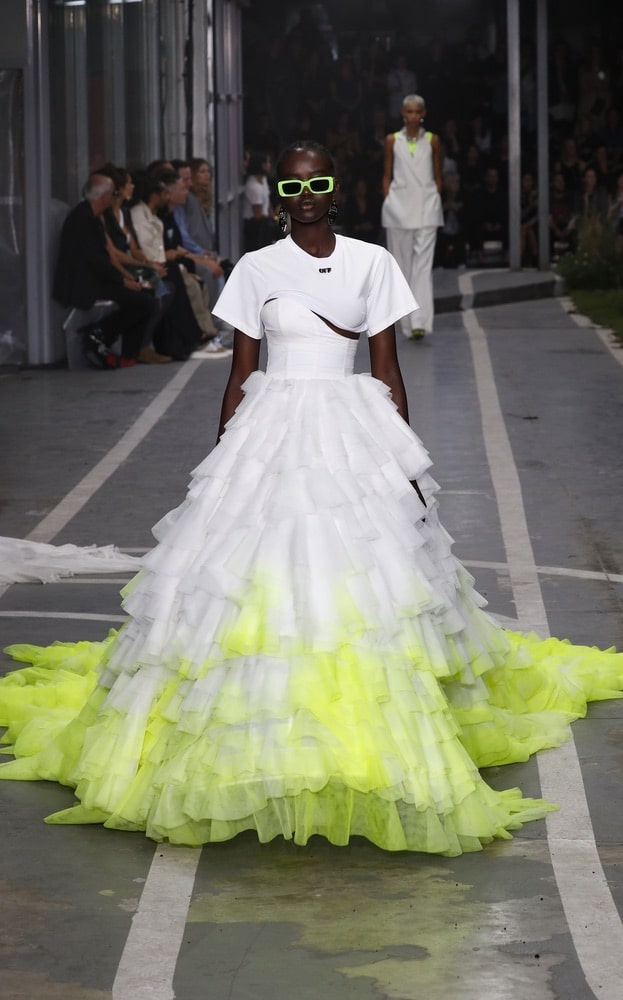 A model walks the runway during the Off-White show as part of Paris Fashion Week Womenswear Spring/Summer 2019 on September 27, 2018 in Paris, France