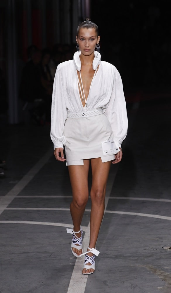 Bella Hadid walks the runway during the Off-White show as part of Paris Fashion Week Womenswear Spring/Summer 2019 on September 27, 2018 in Paris, France