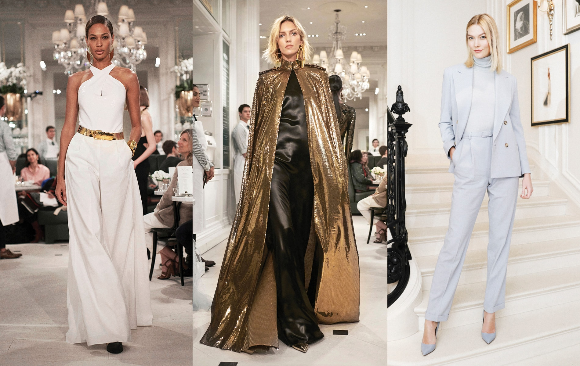 Black chintz suiting evening dress and gold starlight lamé embellished cape with gold specchio pumps at Ralph Lauren's Spring 2019 runway show, held at Ralph's Coffee inside his Madison Avenue flagship store