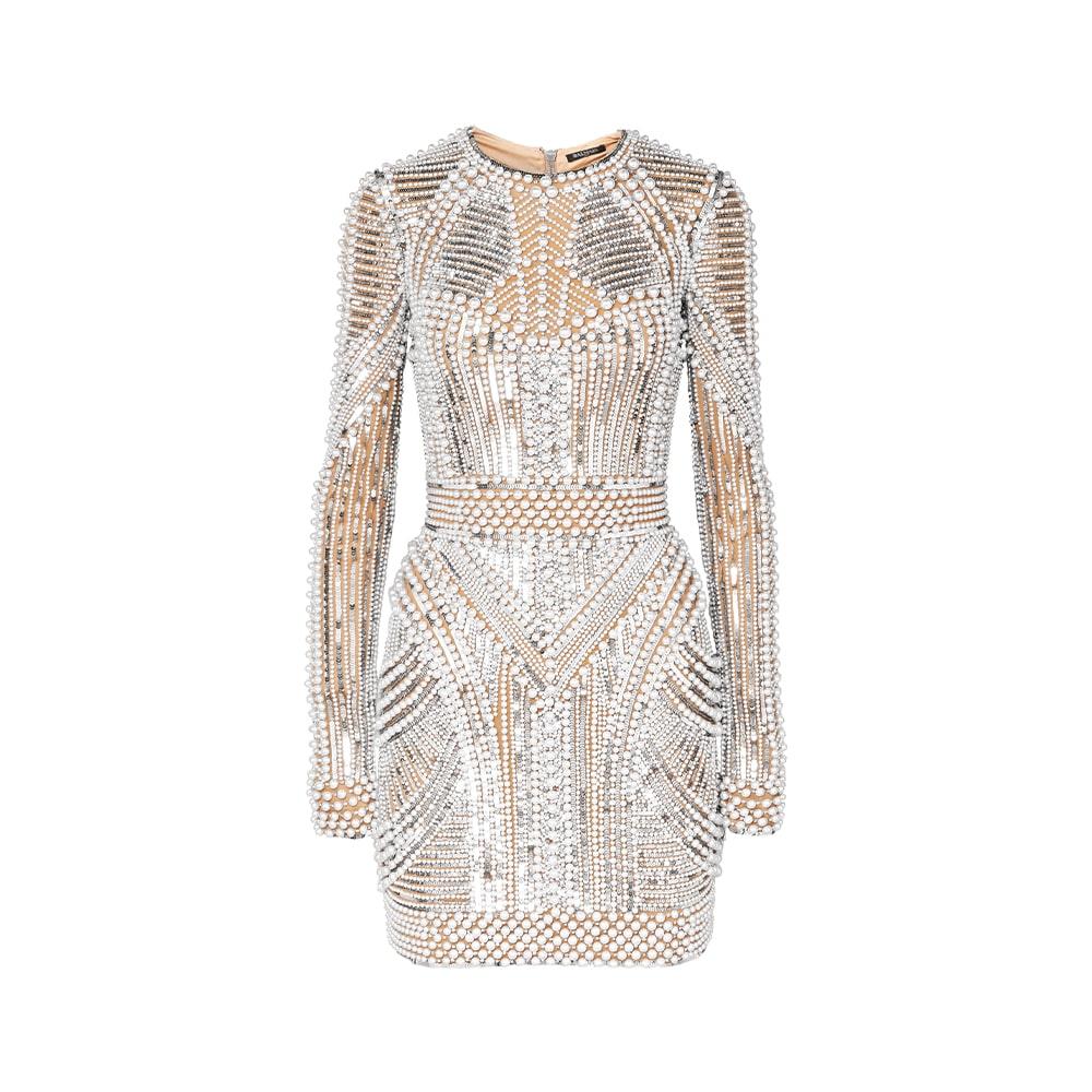 Balmain Embellished Tulle Mini Dress
