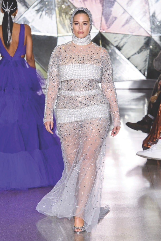Ashley Graham walks in Christian Siriano's Fall/Winter 2019 runway show at New York Fashion Week, NYFW