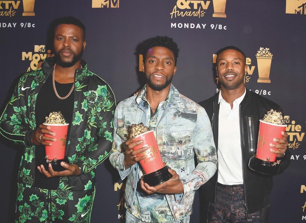 2018 MTV Movie & TV Awards, MTV, Barker Hangar, Santa Monica, California, Getty Images, Winston Duke, Chadwick Boseman, Michael B. Jordan