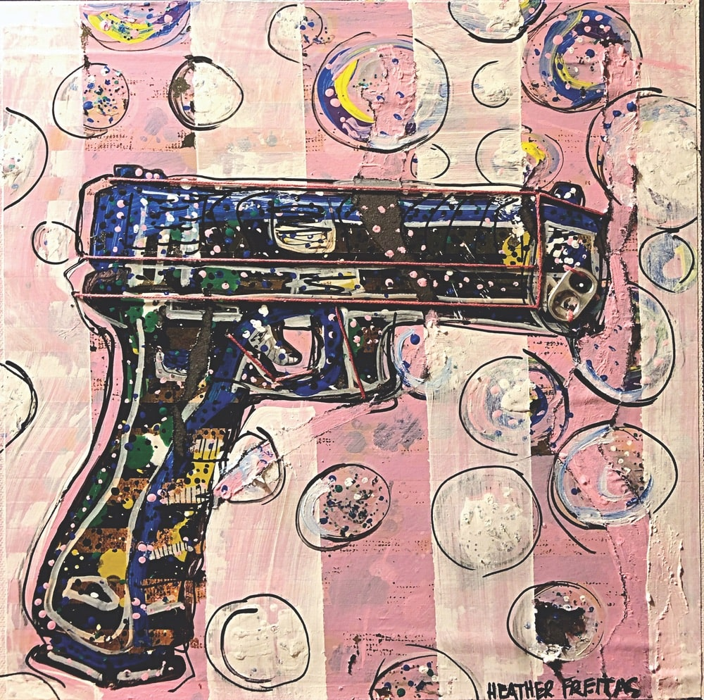 Heather Freitas Art, Bubbles Not Bullets, Mixed media on deep-edge gallery wrap canvas, 10 × 10 in.