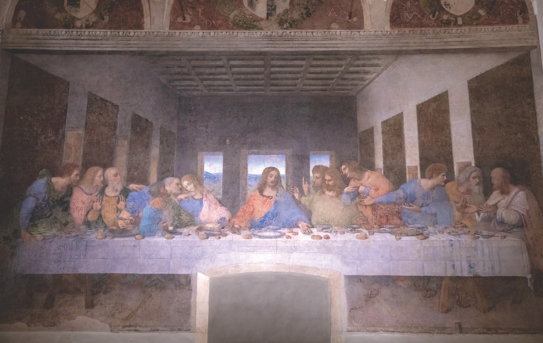 Interior of the refectory at Santa Maria delle Grazie (Holy Mary of Grace) in Milan featuring the mural of The Last Supper by Leonardo da Vinci
