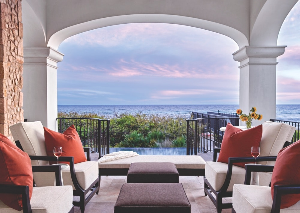 An exquisite view of the Gulf of Mexico from the Hannah residence's south terrace, A Boheme Design, A Boheme