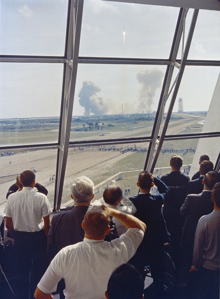 Personnel within the Launch Control Center watch the Apollo 11 liftoff from Launch Complex 39A today at the start of the historic lunar landing mission. The LCC is located three-and-one-half miles from the launch pad. nasa, apollo 11 50th anniversary