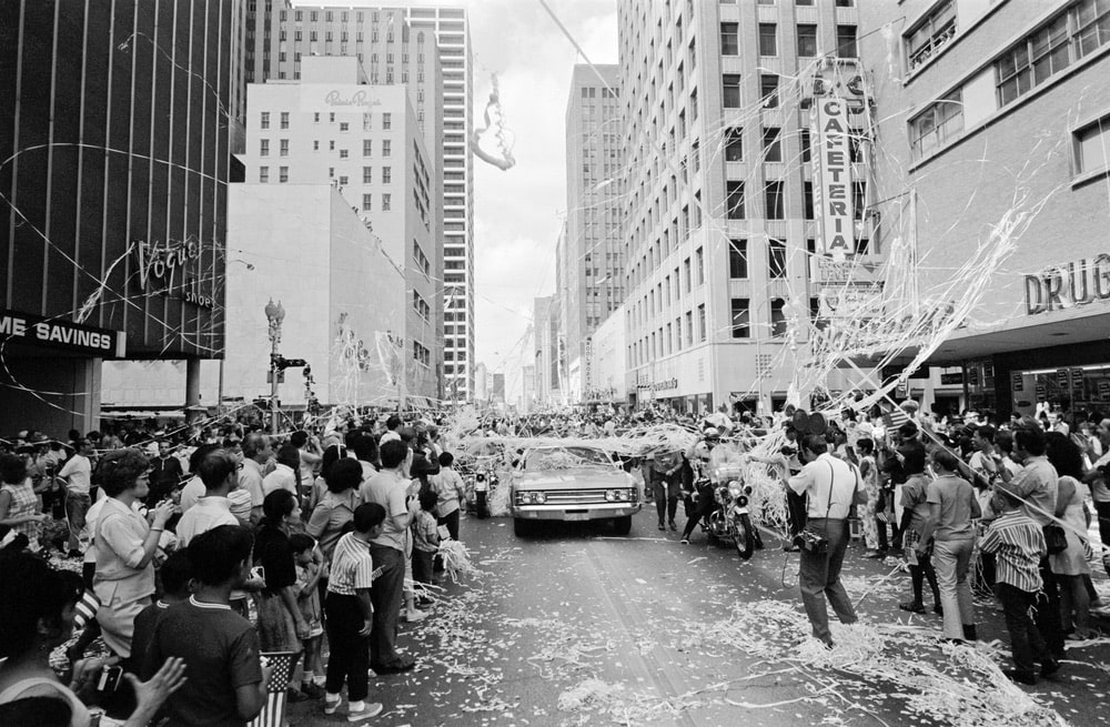 Apollo 11 parade downtown Houston, TX, 08/16/1969. Astronauts Edwin Aldrin, Michael Collins and Neil Armstrong are in the cars with general public welcoming them home. nasa, apollo 11 50th anniversary