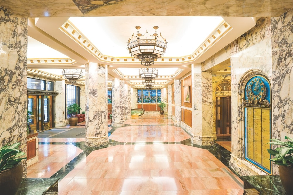 The marble interior of the Gothic Revival–style Mid-Continent Tower in Tulsa is just as stunning as when the building first opened in 1918, art deco, art, tulsa, architecture
