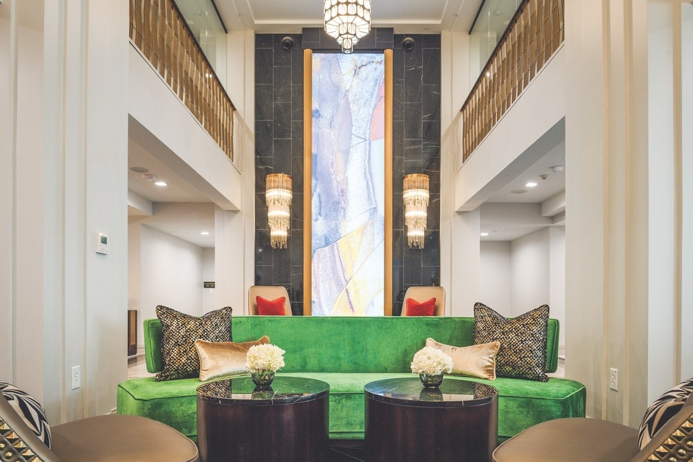 Stunning art deco details abound in the lobby of the Tulsa Club, a 1925 building that was empty for many years. The former social club was renovated and reopened as a hotel in May 2019. | Photo courtesy of Tulsa Club