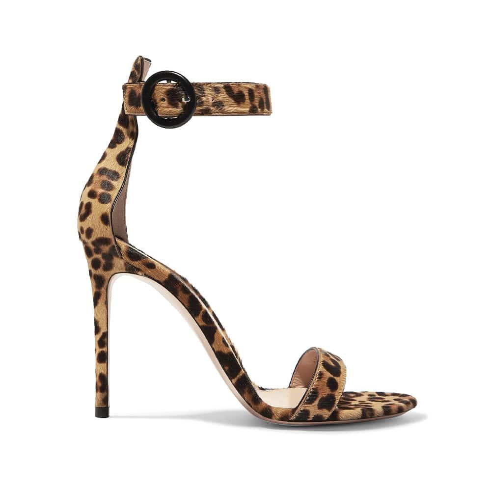 Gianvito Rossi Portofino 100 Leopard-Print Calf Hair Sandals, Net-a-Porter