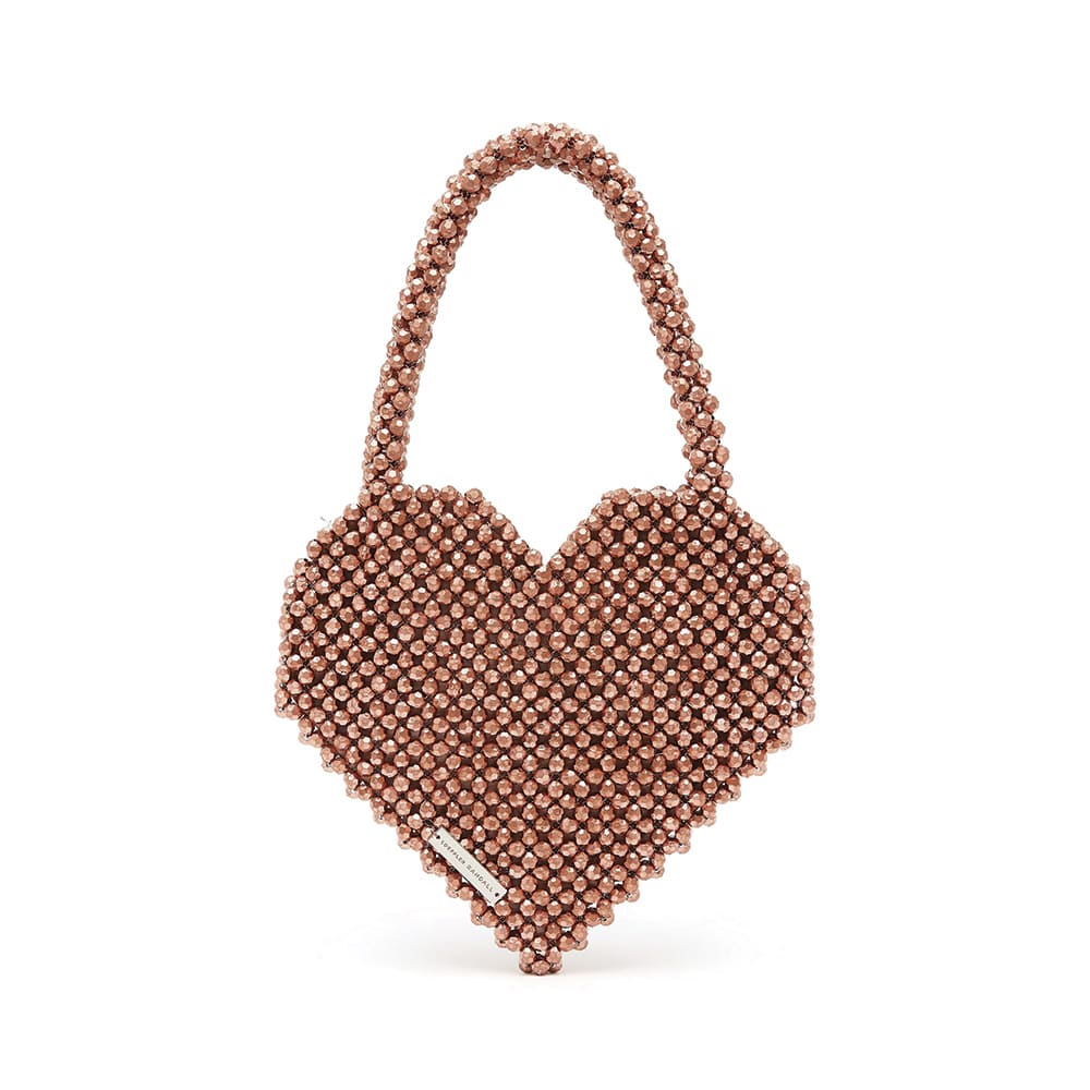Loeffler Randall Maria Beaded Heart-Shaped Tote in Rose Gold