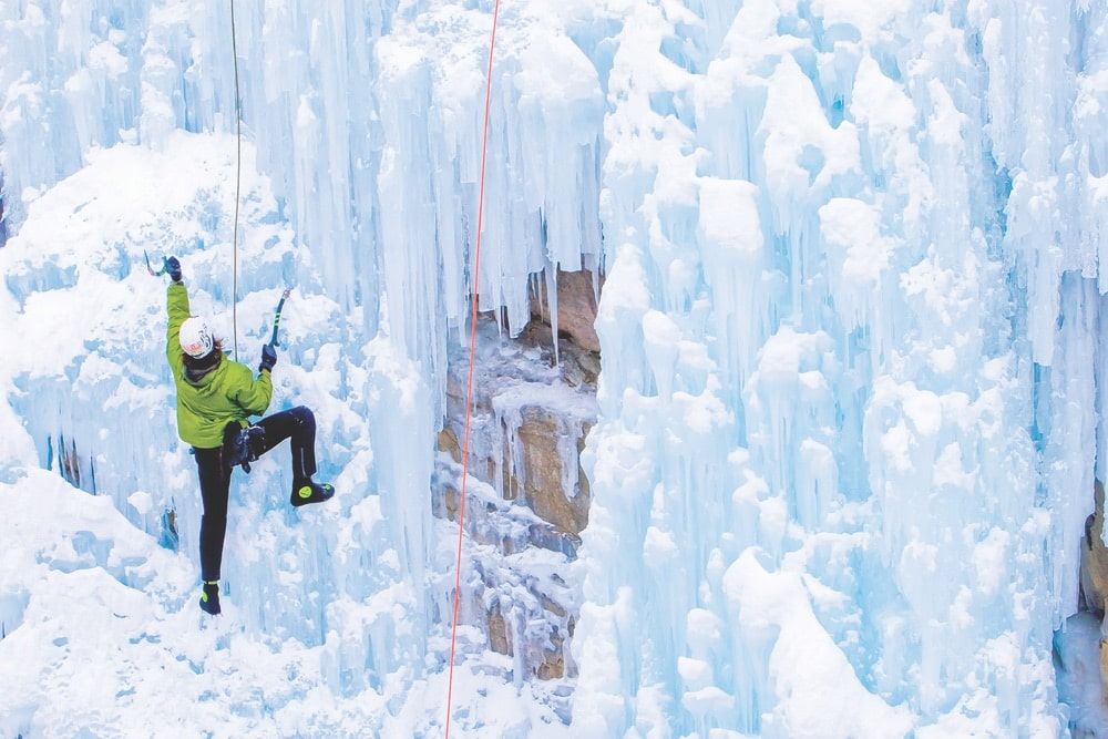 Colorado is known as one of the US's premier adventure destinations. Ice climbing in Ouray Ice Park is not for the faint of heart! | Photo by Inden Miles/Colorado Tourism