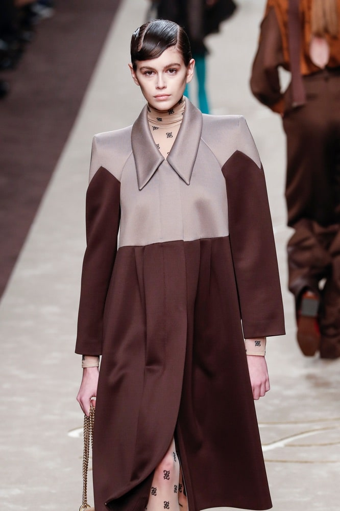 Kaia Gerber walks the runway at the Fendi show at Milan Fashion Week Autumn/Winter 2019/20 on February 21, 2019 in Milan, Italy.