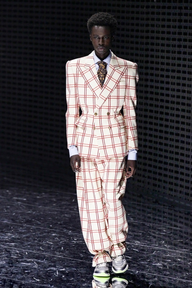 A model walks the runway at the Gucci show at Milan Fashion Week Autumn/Winter 2019/20 on February 20, 2019 in Milan, Italy.