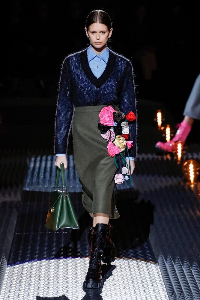 Kaia Gerber walks the runway at the Prada show at Milan Fashion Week Autumn/Winter 2019/20 on February 21, 2019 in Milan, Italy.