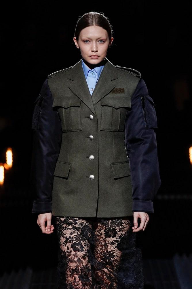 Gigi Hadid walks the runway at the Prada show at Milan Fashion Week Autumn/Winter 2019/20 on February 21, 2019 in Milan, Italy.