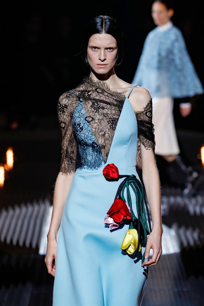 A model walks the runway at the Prada show at Milan Fashion Week Autumn/Winter 2019/20 on February 21, 2019 in Milan, Italy.