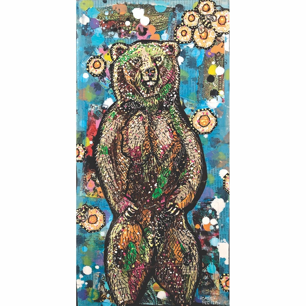 heather freitas, The Bear's Bees Mixed media (newspaper, old photo prints, ink, acrylic paint, and hand embroidery) on gallery wrapped canvas, 10 × 20 in.