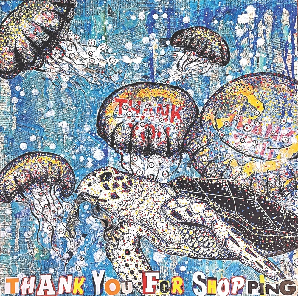 heather freitas, Thank You for Shopping Mixed media (newspaper, paper bags, plastic bags, ink, acrylic paint, and hand embroidery) on gallery wrapped canvas, 24 × 24 in.