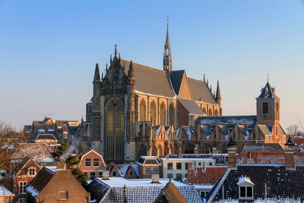 Cityscape skyline of the Hooglandse kerk (church) in Leiden, the Netherlands in winter