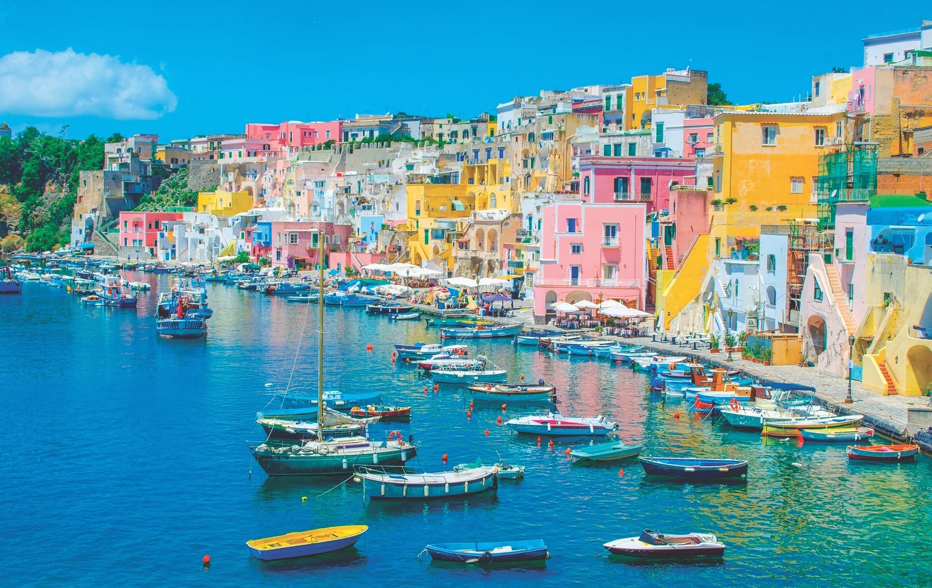Just off the coast of Naples lies Procida, an island of just over one and half square miles. Its colorful historic district now boasts tourism as its main draw, though fishing, shipbuilding, and agriculture have played important roles throughout the centuries.