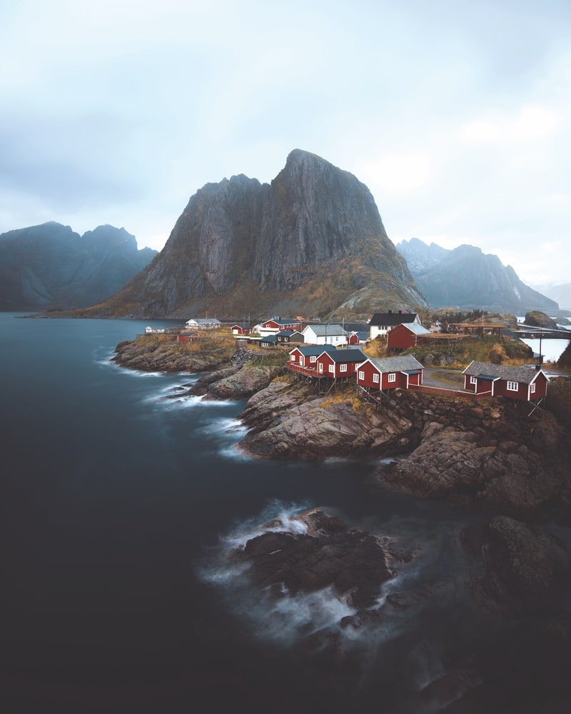 A moody landscape shot of Hamnøy, a small Norwegian fishing village, Paul Hänninen Photography